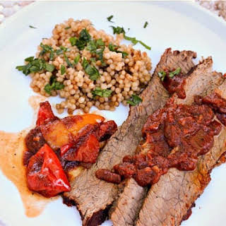 Coffee-Rubbed Beef Brisket With Parsley Couscous.