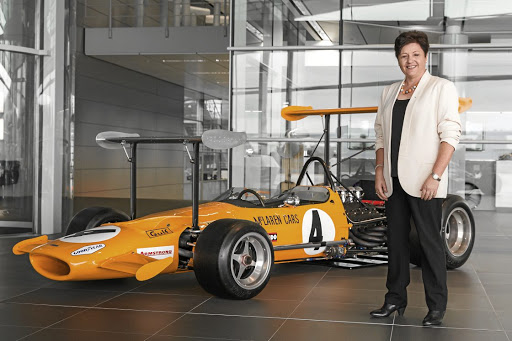 Amanda McLaren and the M7C, which was banned from Formula One on the first day it arrived in the Monaco pits in 1969. Picture: CHRIS BROWN/BEADYEYE