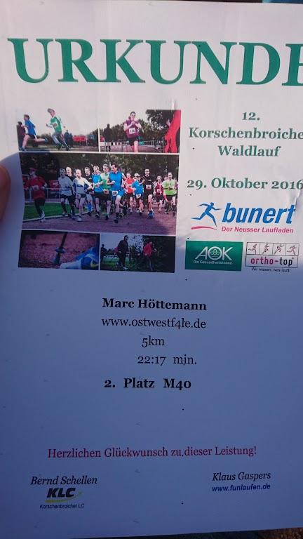 Korschenbroicher Waldlauf Urkunde M40 Senioren