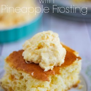 Pretty Peach Cake with Pineapple Frosting.