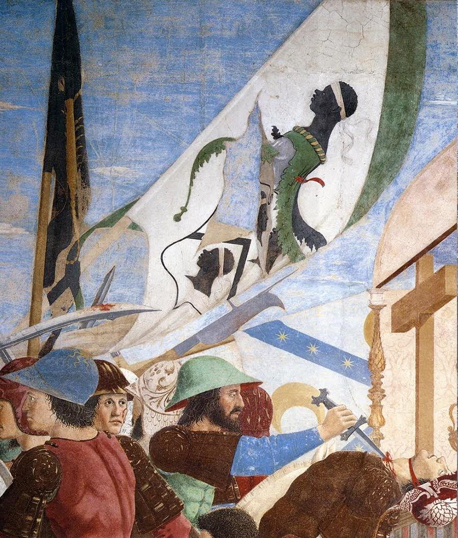 Piero della Francesca, Le Storie della Vera Croce,Battaglia di Eraclio e Cosroè, (particolare, stendardo con stemma della famiglia Pucci), Basilica di San Francesco, Arezzo