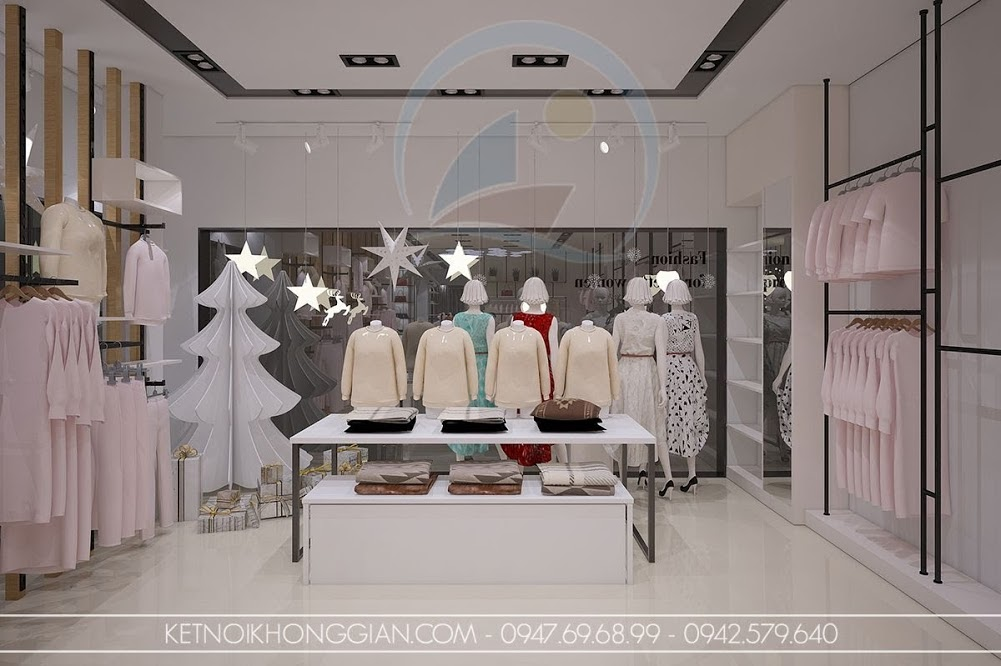 thiết kế nội thất cửa hàng thời trang cuốn hút