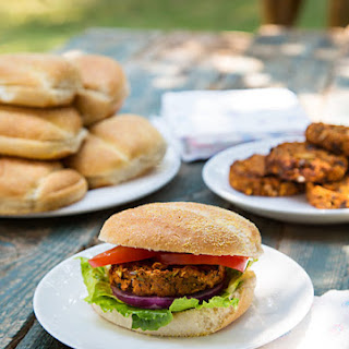 African-Inspired Sweet Potato and Black Bean Burgers.