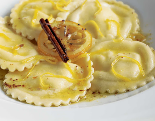 Lemon ravioli, one of the flavorful dishes found on Oceania Cruises.