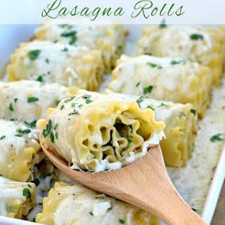 Chicken Spinach Lasagna Rolls.