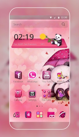 Pink Love Bear Theme Screenshot