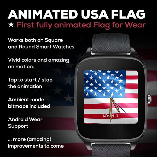 Animated USA Flag Watch Face- screenshot