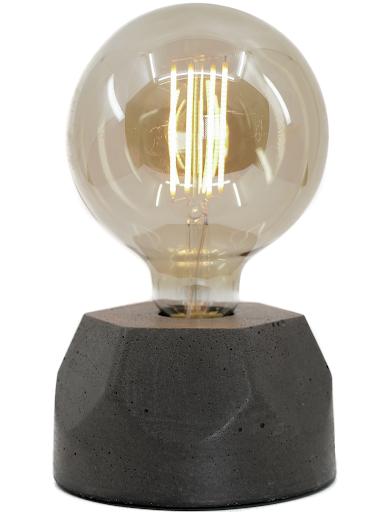 Lampe design en béton noir avec son ampoule à filament