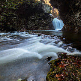 by James Marro - Nature Up Close Water ( water, colorful, cliff, waterfall, moss, pennsylvania, us, flow, leaves, united states, close, delaware watergap, nature, pa, sunset, creek )