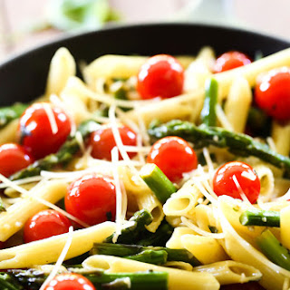 Penne Pasta with Asparagus and Cherry Tomatoes.