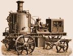 1880 年左右製造的蒸汽推動之馬達,並附有發電設備。當時主要為軍方連接至探照燈使用(來源:http://ancientskyscraper.com/85601.html)