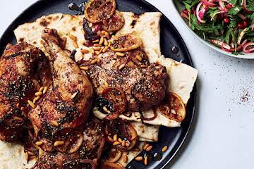 Za'atar Roast Chicken with Green Tahini Sauce Recipe | Epicurious.com