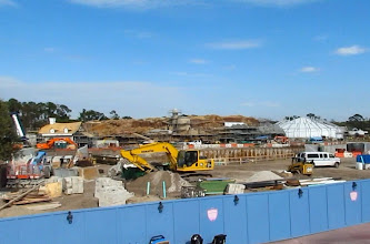 Photo: In the foreground is a giant pit that will eventually house the Seven Dwarfs Coaster.
