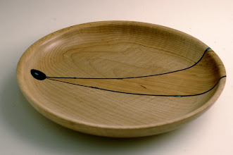"Photo: Richard Webster - Platter - 10"" x 1"" - Maple, Cherry, Ebony, Turquoise"