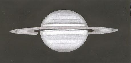 Photo: Saturne, le 2 janvier 2010 à 5H55TU. T406 à 350X en bino. Couleur bleutée du globe, et couleur chocolat de l'anneau.