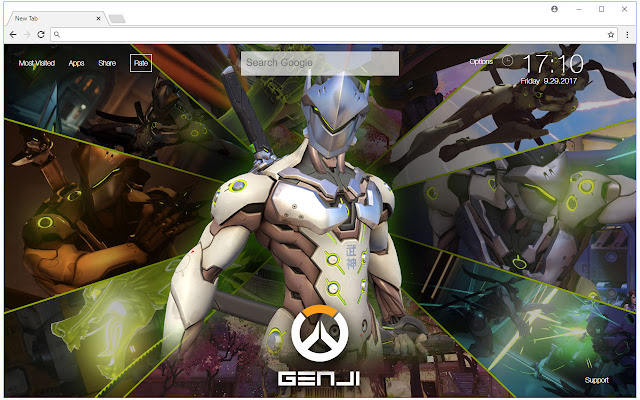 overwatch genji hd wallpaper new tab themes chrome web store