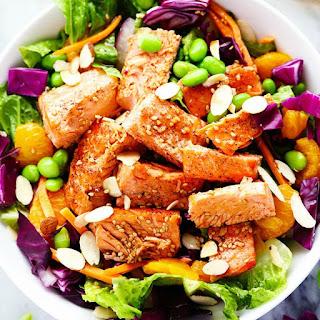 Asian Pan Seared Salmon Salad with Honey Sesame Dressing.