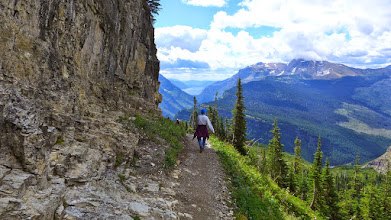 Photo: Heading back to Logan Pass on the Highline Trail with Lake McDonald in distance