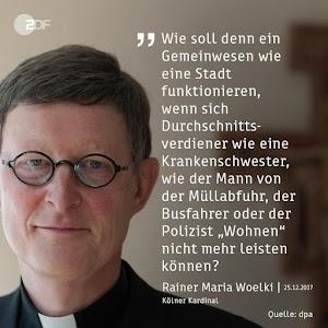 «Kardinal Woelkis Portrait mit nebenstehendem Zitat, sinngemäß: «Wie soll denn ein Gemeinwesen funktionieren, wenn sich Durchschnittsverdiener ‹Wohnen› nicht mehr leisten können?».