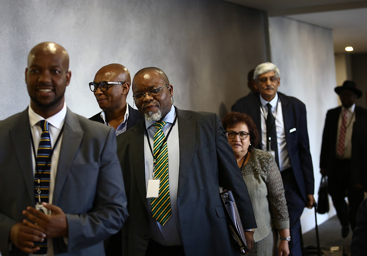 ANC chairperson Gwede Mantashe arrives to testify at the commission of inquiry into state capture on 27 November 2018, accompanied by deputy secretary-general Jessie Duarte, head of ANC presidency Zizi Kodwa, and Krish Naidoo, who was acting as the party's legal advisor.