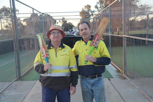 Narrabri District Junior Cricket vice chairman Dave Hogan and chairman Craig O'Connor.