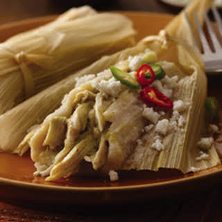 Chicken Tamales with Tomatillo Salsa.