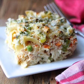 Lightened Up Salmon Noodle Casserole.