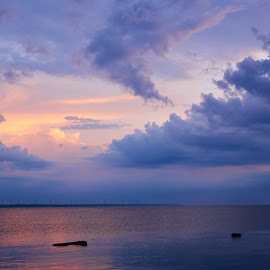 Sky and sunset by Maksim Kozlov - Uncategorized All Uncategorized ( scape, bright, vibrant, space, sun, flame, clear, sky, stratosphere, nature, dark, transparent, meteorology, sunbeam, black, copy, colors, scenics, image, overcast, saturated, fluffy, effect, blue, color, sunset, textured, moody, cloud, glowing )