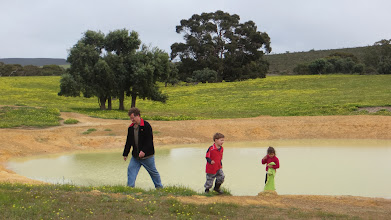Photo: Fish, Ethan & Saffia catching yabbies