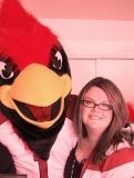 "Photo: me and ""big red"" the Arizona Cardinals mascot, at our Habitat for Humanity home dedication"
