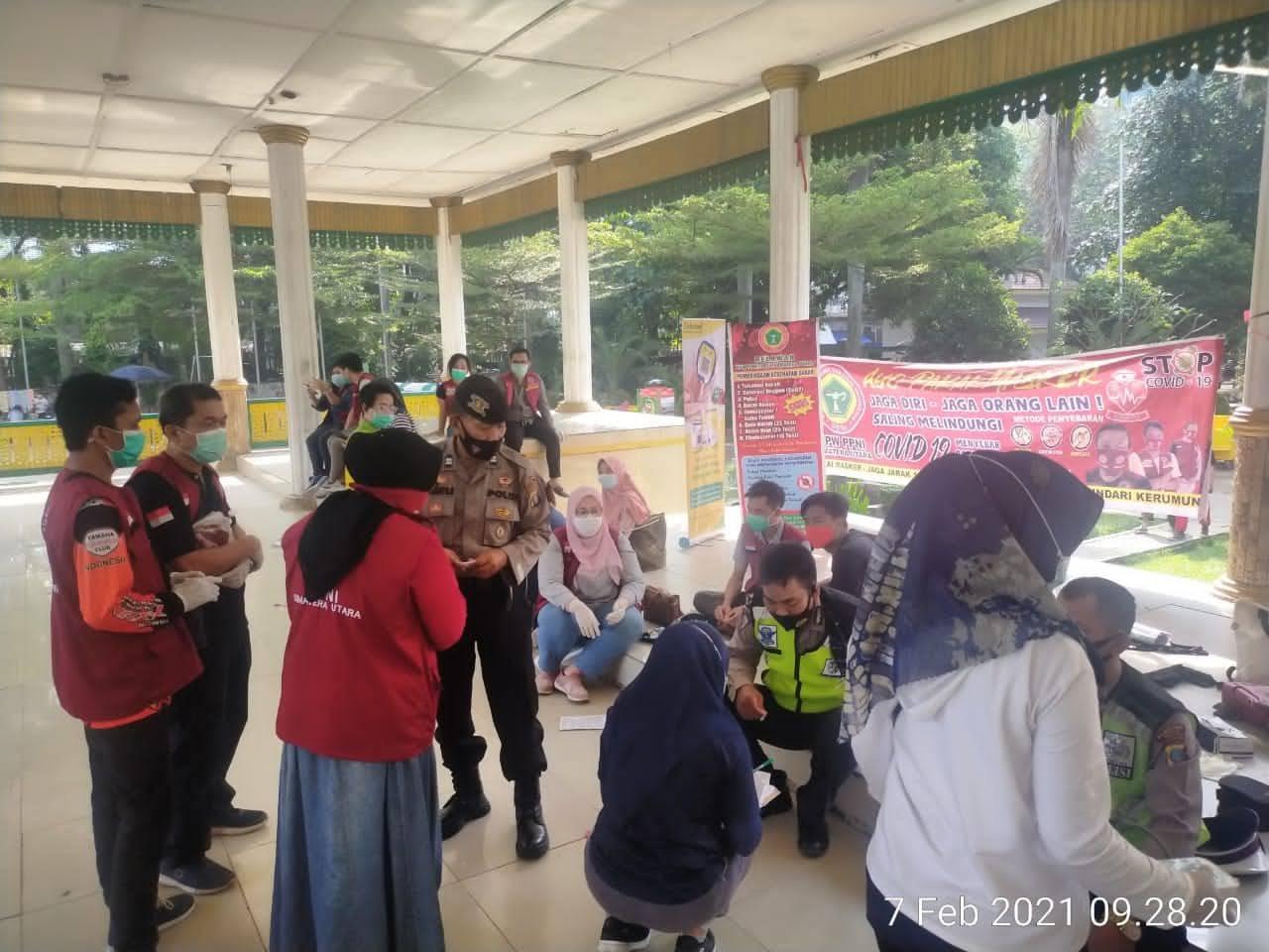 Polsek Medan Barat – Polrestabes Medan Laksanakan Pendisiplinan Protokol Kesehatan