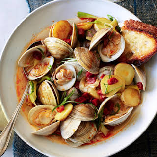 Littleneck Clams with New Potatoes and Spring Onions.