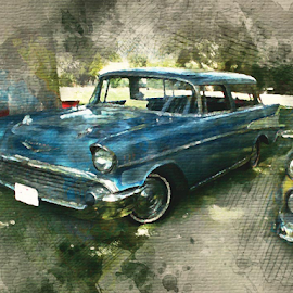 by Valerie Aebischer - Digital Art Things ( 1957 chevy nomad, chevy, chevy nomad, classic car, classic cars, nomad )