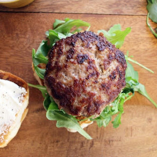 Turkey Burgers with Arugula and Goat Cheese.