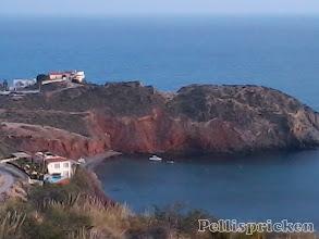 Photo: De röda bergen i Bolnuevo syns bra här uppe