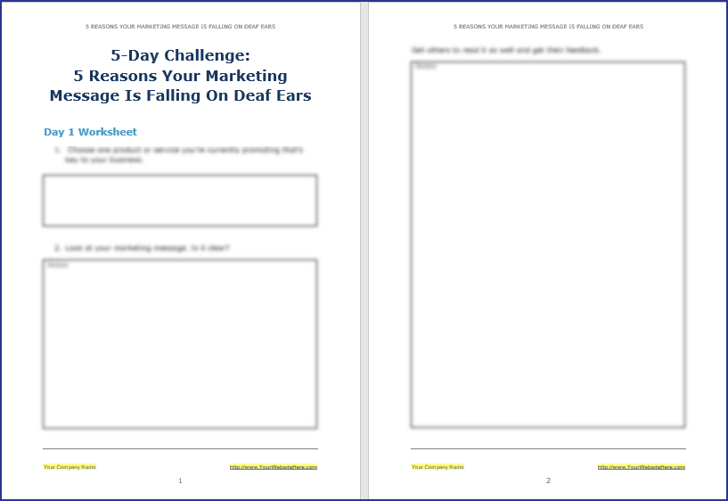 Create Your Marketing Message - 5-Day Challenge Worksheet 1