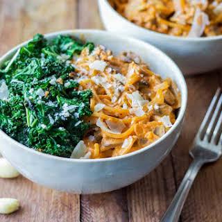 Creamy Mushroom Pasta with Garlic Kale.