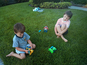 Photo: Clark and Finn with Rescue Bots at Home