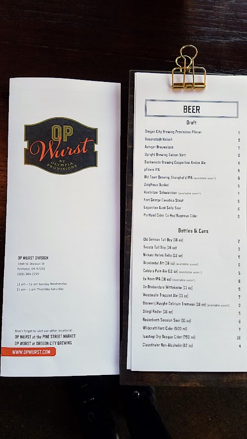 OP Wurst Division and their beer list in draft, bottles and cans