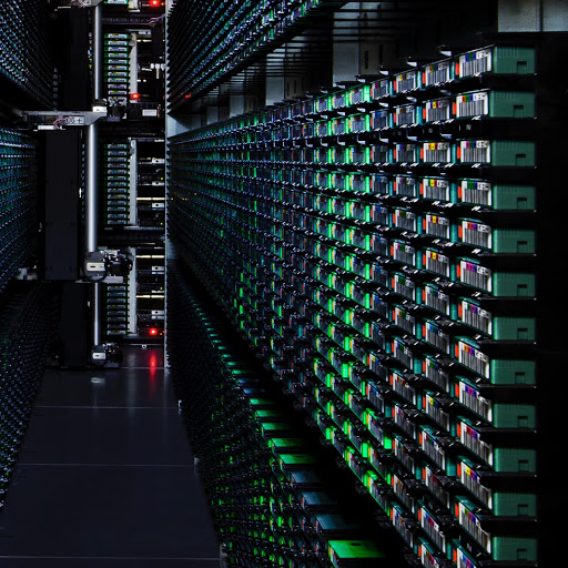 Close up of a server rack in a Google data center