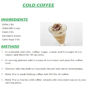 Cold Coffee English Recipes Screenshot