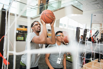 Photo: But also demo the product while shooting hoops.