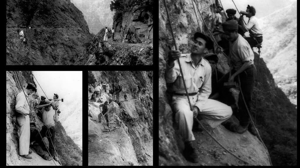 Photos of levada constructions in the old days. Gratefully linked to a Pinterest page by Yana Loskutova