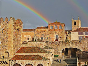 Photo: Rainbow over Cáceres, Spain We were out and about the entire day in the old town in Cáceres, Spain. We had sun and rain alternating the whole day, which makes for interesting pictures with lots of contrasts. As we got back to our hotel, the sun came out, and this is what I saw from the window of our room. I ran and unpacked my camera, before it disappeared :-). My contribution to #FortressesFriday, curated by +Benjamin Dahlhoff.