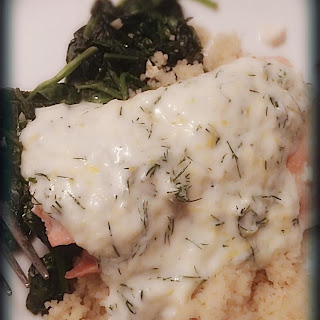 Salmon and Spinach with Dill and Lemon Sauce.