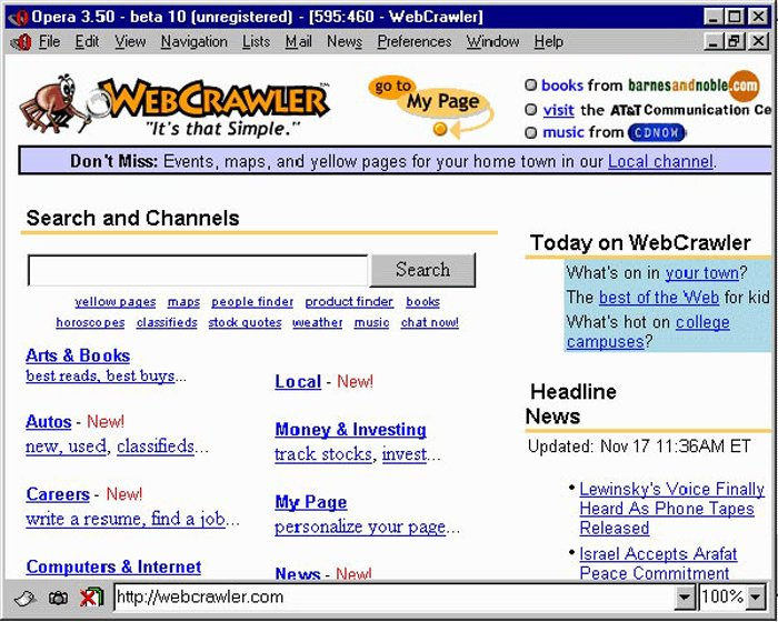 WebCrawler - первая поисковая система, которая появилась в 1994 году