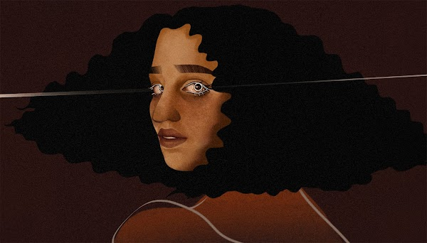 An illustration of a person with wavy black hair and brown skin in front of a dark brown background.