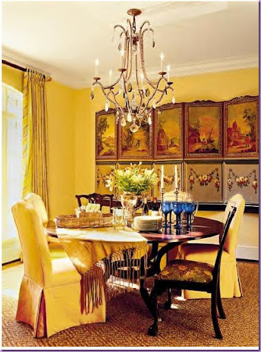 Here This Dining Room Incorporates The Elements Perfectly Textured Rug Draperies And Chandelier Fixture Is Updated With Use Of Colored Rock