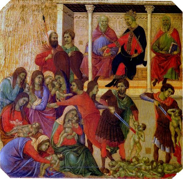 Duccio di Buoninsegna, Predella della Maestà, Strage degli innocenti (Siena, Museo dell'Opera del Duomo)