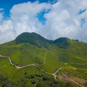 Cloud and mountain by Irfan Firdaus - Landscapes Cloud Formations ( travel photography, blue sky, mountains, green, nature,  )